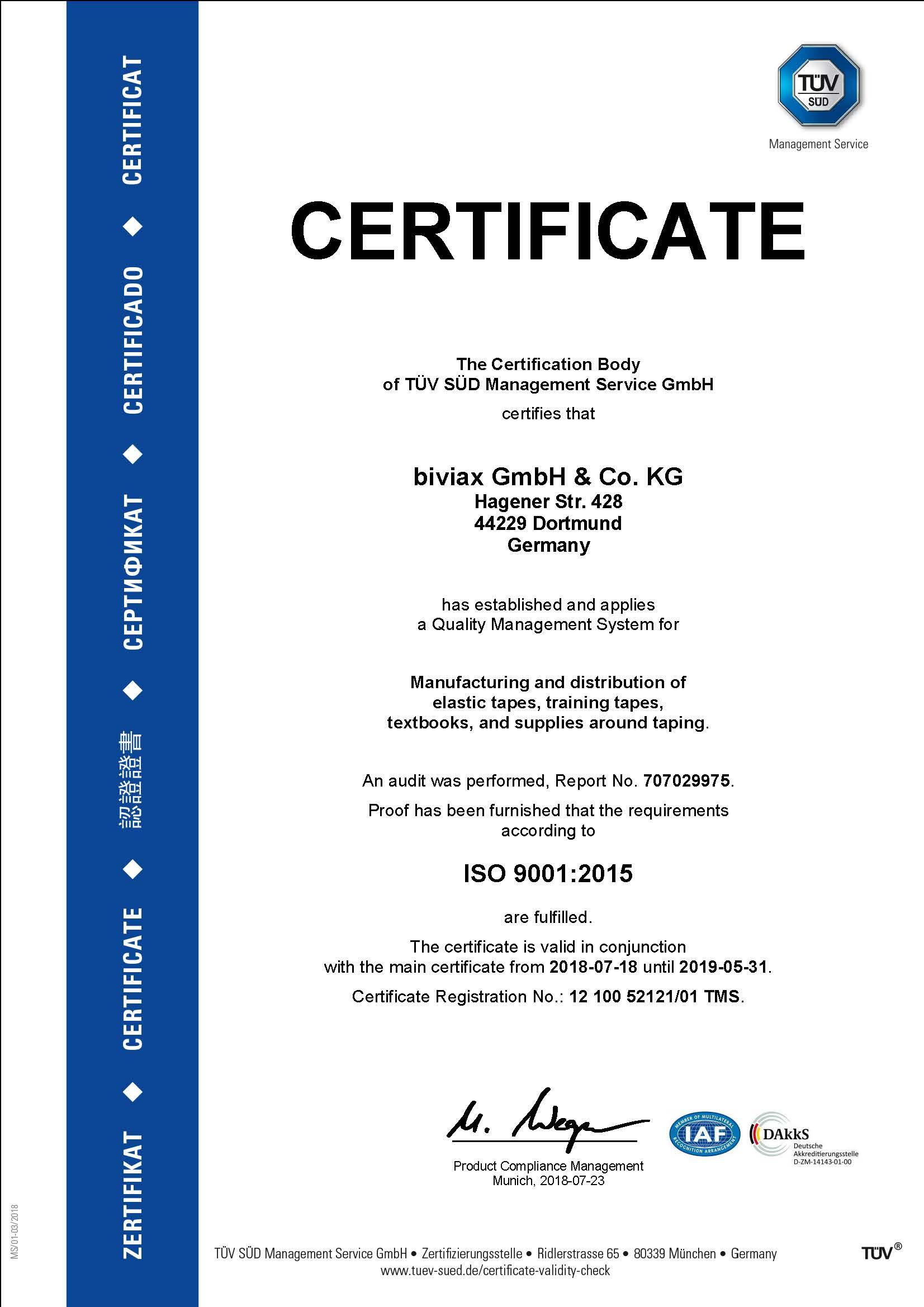 certificate biviax