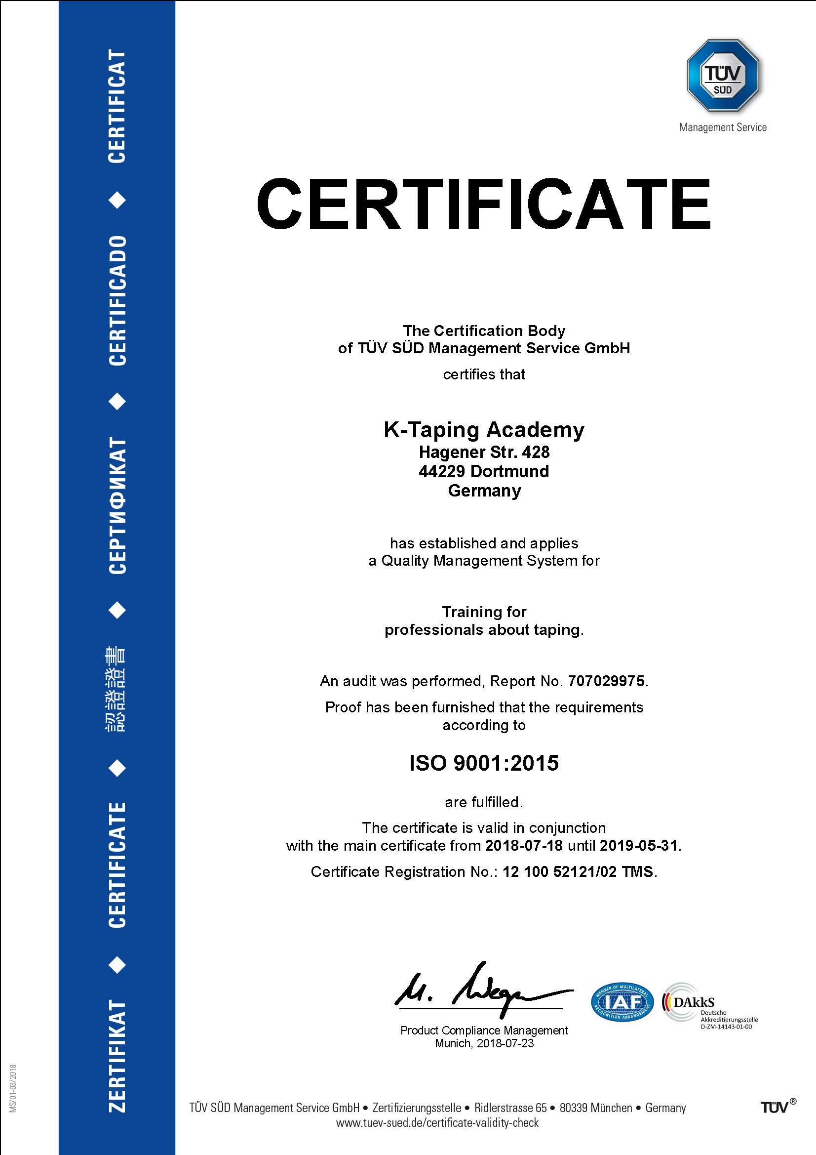 certificate K-Taping
